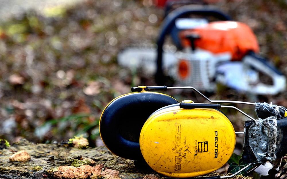 Gehörschutz und Motorsäge von Baumpfleger